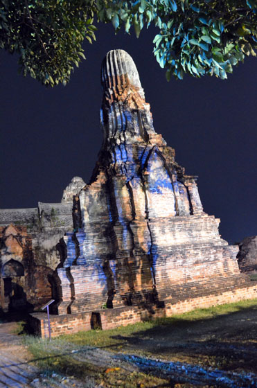 colorful ruins at night